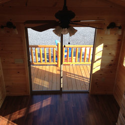 Park Model Cabin - Franklin - Living Area with Sliding Glass Doors to Porch -