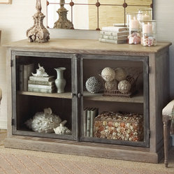 Marseille Glass Front Cabinet - Get a piece of French flea market style and be inspired to show off your favorite found items, corral your books in an attractive way, or organize you home office items.