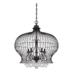 Savoy House - Abagail 5-Light Pendant - A vintage birdcage has modern sophistication with the addition of sparkling crystals in this savoy house boutique pendant.