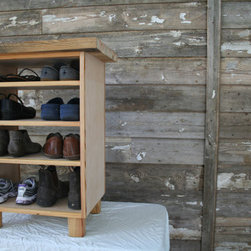 Custom Open Shelf Shoe Cabinet by Shot House Studios - This is a hefty shoe cabinet, but it's great for painting any color to match your home. It can also be repurposed in uses other than a shoe rack.
