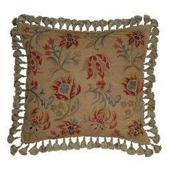 """EuroLux Home - New Hand-Embroidered Throw Pillow 21""""x21"""" - Product Details"""