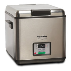 SousVide Supreme Chef Professional Water Oven - The SousVide Supreme Chef is the world's first UL commercial and NSF approved sous vide appliance, designed to meet the rigorous demands of the commercial kitchen. The Chef offers silent, steam-free operation and easy portability for catering off-site.