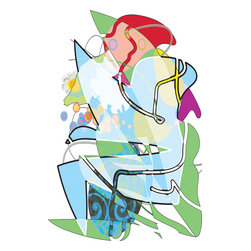 Desk Art, Artwork - This humorous image has a narrative of a person stuck in an office chair trying to escape. It is from my new drawing series.