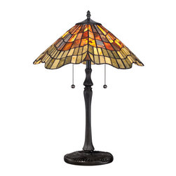 Quoizel - Quoizel Vintage Bronze Lamps - SKU: TF1510TVB - Elegant Tiffany style is a timeless staple of home decor. The various designs are hand-assembled using the copper foil technique developed by Louis Comfort Tiffany. With an enormous variety of colors and patterns to choose from, Quoizel Tiffany's have become more popular than ever.