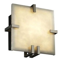 Justice Design Group - Clouds Clips Square Wall Sconce by Justice Design Group - The Justice Design Clouds Clips Square Wall Sconce captures a design that looks equally classy as urbane while emanating a charismatic sparkle that is altogether awe-inspiring. The Clouds Clips Square Wall Sconce features Clouds Resin shade and metal body.Justice Design Group offers a wide array of lighting solutions for residential and commercial settings. Create a mood, complement a theme, or add the perfect accent with a JDG decorative lighting fixture.The Justice Design Clouds Clips Square Wall Sconce is available with the following:Included Features:One square-shaped, Clouds Resin shade.Metal body.One wall plate.UL Listed for damp locations.ADA Compliant.Options:Diffuser: Clouds Resin.Finish: Antique Brass, Black Nickel, Brushed Nickel (shown), Dark Bronze, Matte Black, or Polished Chrome.Lighting: One 18 Watt 120 Volt Type GU-24 Compact Fluorescent lamp (included).Shipping:This item usually ships within 1 to 2 weeks.