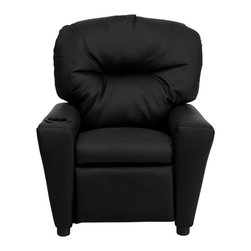 Flash Furniture - Contemporary Black Leather Kids Recliner with Cup Holder - Kids will now be able to enjoy the comfort that adults experience with a comfortable recliner that was made just for them! This chair features a strong wood frame with soft foam and then enveloped in durable leather upholstery for your active child. Choose from an array of colors that will best suit your child's personality or bedroom. This petite sized recliner will not disappoint with the added cup holder feature in the armrest that is sure to make your child feel like a big kid!