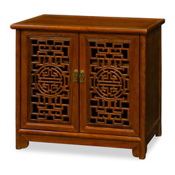 China Furniture and Arts - Elmwood Double Longevity Design Cabinet - This hand crafted double longevity design cabinet was constructed with Elmwood using traditional joinery methods by artisans in China. Two removable shelves behind doors for your storage convenience. Hand-applied clear wood stain enhances the beauty of natural wood grain. Matching brass pulls. Cable outlets can be made upon request.(Assembled)