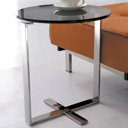 Armen Living - Allen End Table in Stainless Steel with Glass Top - Simple round design will match your modern decor. Relax with a cup of coffee anywhere you like with this nice end table at your side. Constructed of stainless steel and tempered glass top.