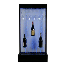 Alpine - Water Bubble Fountain with LED Lights and Wine Rack - Features: