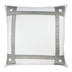 "NECTARmodern - Applique Ribbon (white) embroidered throw pillow 20"" x 20"" - Satin applique with embroidered edge detailing frames the pillow. Clean, simple, and versatile with a hand-crafted feel. Solid white back. Designer quality cover with overstuffed feather/down insert."