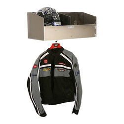 None - Double Helmet Bay - Designate a proper place for your riding gear with this double helmet storage bay. The lightweight aluminum can easily be drilled into your garage or trailer wall. A support rod on the underside lets you conveniently hang your biker jackets.