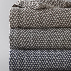 """Peacock Alley - Peacock Alley Queen Herringbone Blanket, 96"""" x 96"""" - These Egyptian cotton bed linens offer soft warmth, sharp style, and plenty of versatility to fit your personal style. Select Graphite (gray), Driftwood (brown), or Navy when ordering. All are made in Portugal unless stated otherwise below. From Peacock..."""