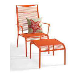 Grandin Road - Belize Chair & Ottoman Set - Grandin Road - Each piece in our Belize Outdoor Seating Collection is masterfully crafted for season after season of blissful days in the sun. Designed to resist the effects of sun, rain, and even chlorine. Durable PVC lashing is hand-wrapped around lightweight, yet sturdy, aluminum frames, so pieces are easy to move about the patio or pool deck. Conveniently arrives fully assembled, so you can enjoy your new outdoor furniture from the very first day. Weather-resistant powdercoat finish in your choice of color. Our chic Belize Outdoor Seating Collection is the same sleek and brightly colored pieces you might encounter on a remote tropical getaway. The beauty of Belize is that you can enjoy those very same amenities right in your own backyard. What's more, these all-weather seating pieces have been specially designed to be comfortable without a cushion.  .  .  .  .  . Both chair and chaise are conveniently stackable for storage . Chaise adjusts to five positions for all-day comfort .