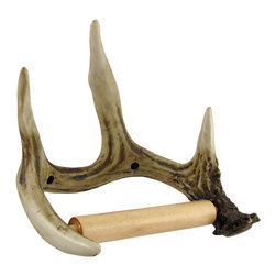 Zeckos - Deer Antler Toilet Paper Holder - This awesome deer antler toilet paper holder will add a great natural home accent to your bathroom. The cold cast resin holder has a bone-white hand painted finish with brown staining that vividly imitates a real antler. The wooden spring action cylindrical dowel fits easily into slots on the holder to hold your favorite toilet paper. The holder measures 8 inches long, 6 1/2 inches tall, and 5 1/2 inches wide. Included hanging hardware securely hangs the antler through two screw holes on the back side. This wonderful bathroom accessory is a great gift for hunters.