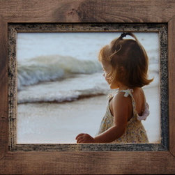 MyBarnwoodFrames - 12x16 Rustic Wood Frame Myrtle Beach Series - A beautiful 12x16 inch rustic frame built from alder wood with a natural barnwood inset. The outer alder frame is stained a dark walnut. This frame is priced without glass. Add glass or plexiglas to your order if desired.