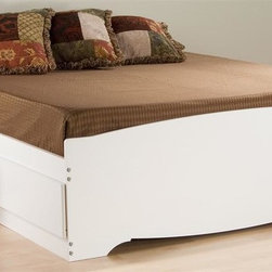 Prepac - Storage Platform Bed in White Finish (Full) - Choose Size: FullIncludes six drawers. Drawer to stow away blankets, linens and anything else. Sides glide on metal runners with built-in safety stops. Finger pulls at the bottom of each drawer front for easy opening. Weight capacity: 500 lbs.. Warranty: Five years. Made from CARB-compliant, laminated composite woods. Made in North America. Full: 76.5 in. L x 57 in. W x 18.75 in. H. Queen: 81.5 in. L x 63 in. W x 18.75 in. HExpand the storage potential of your bedroom with the Mates platform storage bed with six drawers. You wont need a box spring, either, thanks to the slat support system that requires only a mattress. Wood slats positioned length-wise distribute body weight evenly to ensure a good nights sleep.