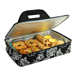 "Picnic at Ascot - Insulated Casserole Carrier, Night Bloom - Food carrier with sturdy construction and Themal Shield insulation to keep food hot or cold during transport. Great to carry casseroles, cakes, rolls, etc. Fits up to al 11"" x 15"" (5 Qt) size casserold dish (not included). Features a sturdy centered handle to avoid tipping and zips fully open for easy packing."