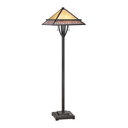 "Quoizel - Arts and Crafts - Mission Quoizel Mason Vintage Bronze Tiffany Style Floor Lamp - The Mason floor lamp from Quoizel features a slender column base in a vintage bronze finish with a bowed accent at the neck. Up top sits a Tiffany-style shade made from 156 pieces of art glass in neutral tones and a pattern that resembles a brick walkway. The art glass shade is hand-assembled using the same copper foil method developed by Louis Comfort Tiffany. A handsome decor accent that will brighten your living space in traditional Craftsman style. Tiffany style floor lamp. Resin and art glass construction. Vintage bronze finish. Glass count 156 pieces. Takes two 100 watt medium base bulbs (not included). 58"" high. Shade is 18"" wide 18"" deep.  Tiffany style floor lamp.  Resin and art glass construction.  Vintage bronze finish.  Glass count 156 pieces.  Takes two 100 watt medium base bulbs (not included).  58"" high.  Shade is 18"" wide 18"" deep."