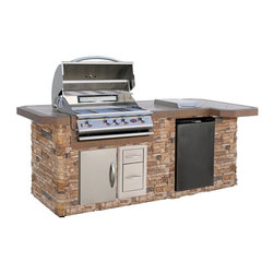 Cal Flame - Cal Flame 8 ft. BBQ Island with Side Bar & Gas Grill - Autumn Pro Fit Stone Mult - Shop for Grills from Hayneedle.com! Create a culinary centerpiece with the Cal Flame 8 ft. BBQ Island with Side Bar & Gas Grill - Autumn Pro Fit Stone. This beautiful combination unit features an Autumn Pro-Fit Ledgestone stone base with a generous tropical brown porcelain countertop workspace. It also includes a handy side burner for cooking and prepping extra food. This grill features a stainless steel design with a heavy duty grate 4 burners and knobs that each control a reliable Piezo ignition for added convenience. Below the grill an 18-inch door opens to reveal storage for grilling necessities and propane access while dual drawers offer even more storage for utensils and other items. An included refrigerator features 5 removable shelves and internal lighting so you can keep your food and beverages handy.About Cal FlameCal Flame was founded in 2000 and has been building award-winning customized grill solutions ever since. This complete line of 304 stainless steel grills accessories fire pits and more works seamlessly together to provide a chef-level experience in your backyard. They're designed with experience and built for reliability and can be built into a custom island or dropped into a movable grill cart. Your configuration is entirely up to you go ahead design the outdoor kitchen of your dreams!