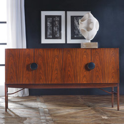 """Modern History - Modern History Home Four Door Italian Sideboard - Mid-century modern style comes to life in the Italian four-door credenza. Two oversize round pulls define its chic, wood-grain design for a focal look in contemporary interiors. 76.5""""W x 21""""D x 41""""H"""