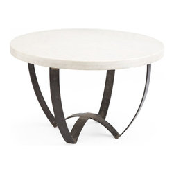Sleek Marble-Top Coffee Table - Reminiscent of the sleek lines and flowing form of mid-century modern style furniture as well as the open, airiness of modern form, this coffee table is an easy choice for sliding into any decor. It is sleek enough to fit into a strictly modern home as well as traditional look. And it also holds its own among a more ethnic, layered style. Made from hand-lacquered iron and marble, this table is a sure star in any residence.