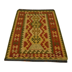 Area Rug, Flat Weave 3'X4' Reversible Anatolian Kilim Hand Woven Rug SH13634 - Soumaks & Kilims are prominent Flat Woven Rugs.  Flat Woven Rugs are made by weaving wool onto a foundation of cotton warps on the loom.  The unique trait about these thin rugs is that they're reversible.  Pillows and Blankets can be made from Soumas & Kilims.