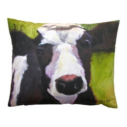 Robin Rowe - Lucy the Cow Accent Pillow - An easy, breezy way to add freshness and color to any room in your home is with Indeed Decor's Lucy the cow accent pillow.  Adding two or three accent pillows to your sofa or bed is an easy and inexpensive way to transform a room with bright and cheerful spring hues. A selection of Robin Rowe's original paintings are now printed on linen for a new line of designer pillows. The linen pillow back displays a stitched woven damask label of the Roweboat logo. The pillow is a down blend with an invisible zipper for easy cleaning. All pillows are Made in the USA. Each stunning pillow is offered in three sizes.  These pillows make much appreciated gift, if you can bear to part with one.