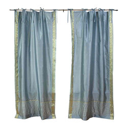 Indian Selections - Pair of Gray Tie Top Sheer Sari Curtains, 43 X 63 In. - Size of each curtain: 43 Inches wide X 63 Inches drop.