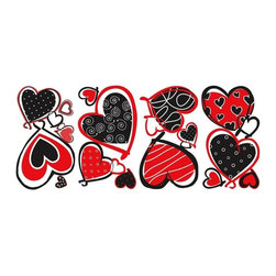RoomMates Peel & Stick - Mod Heart Wall Decals - Add a pop of color to your room with the addition of these black, red, and white hearts. The eye catching colors and modern flair of these patterned hearts give them appeal to girls of any age. Apply them to walls, windows, doors, mirrors, or furniture... anywhere you please! Fully removable, repositionable, and reusable. A clever idea for a Valentine's Day gift!