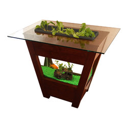GreenTowers - Living Table, Dark Charcoal (Planter Box), Beveled Glass Tabletop - Deliver a piece of nature directly into your indoor residential or office environment.  A self-contained ecosystem that can be used to grow edibles or ornamentals, these beautiful aquaponic gardens are handcrafted with love from local Central Pennsylvania cherry hardwood.  The Living Table is low maintenance and arrives fully assembled with starter seed kits—upon delivery, simply add water and fish to the freshwater aquarium!