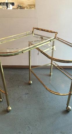 Vintage Brass and Glass Bar Cart - Vintage Brass and Glass Bar Cart