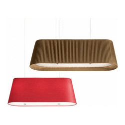 """Modoluce - Modoluce Lingotto pendant light - The Lingotto pendant light fromModoluce has been designed by ModoLuce Research in 2006. This suspension mounted luminaire is great for incandescent lighting. This oblong form swinging lamp is composed of a lamp shade in cotton or pleated cloth fabric. The suspension cables are in metal with the finishing panel in opal plexiglass. The cotton lamp shade option comes in ivory, white, lobster, red, plum, black, brown, acid green, sand, gold, orange, lilla, blue and grey. The pleated lamp shade option comes available in white, brown, red, black and beige. The Lingotto pendant light exhibits an elegant and chic design, along with quality craftsmanship, that is sure to beautifully brighten any modern atmosphere.  Product Details:  The Lingotto pendant light fromModoluce has been designed by ModoLuce Research in 2006. This suspension mounted luminaire is great for incandescent lighting. This oblong form swinging lamp is composed of a lamp shade in cotton or pleated cloth fabric. The suspension cables are in metal with the finishing panel in opal plexiglass. The cotton lamp shade option comes in ivory, white, lobster, red, plum, black, brown, acid green, sand, gold, orange, lilla, blue and grey. The pleated lamp shade option comes available in white, brown, red, black and beige. The Lingotto pendant light exhibits an elegant and chic design, along with quality craftsmanship, that is sure to beautifully brighten any modern atmosphere. Details:                         Manufacturer:             ModoLuce                            Designer:                        ModoLuce Research                                         Made in:            Italy                            Dimensions:                         Small: Height: 13.78"""" (35 cm)Width: 35.43"""" (90 cm)                          Large: Height: 13.78"""" (35 cm)Width: 47.24"""" (120 cm)                                         Light bulb:                         Small: 3 X 60W incandescent"""