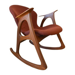 """Used Vladimir Kagan Teak Rocking Chair - A beautiful example of form and function, this amazing teak rocking chair is often attributed to Vladimir Kagan or Adrian Pearsall. Perfect vintage condition, the fabric is a beautiful rust colored wool and the teak wood is excellent with no scratches or chips.    Rocks very smooth and easy and looks amazing with a vintage flokati pillow or throw over the seat for added texture and dimension. Perfect for that new nursery, or even in the corner of your living room or bedroom for reading. Extremely comfortable and quiet.    Rare, hard to find piece that will be a statement in any room in your home.    Measures 25"""" W x 27"""" D x 29"""" Seat Back Height x 16"""" Seat Height"""