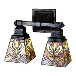 Meyda Tiffany - Meyda Tiffany Glasgow Bungalow Transitional Wall Sconce X-38462 - The Glasgow Bungalow Wall Sconce is covered with intricate intersecting lines. This two-light sconce is inspired by the art and architecture of Chared Rennie Mackintosh and the Glasgow school of art. The colors umber and gold make up the entangled network stained glass, making for a unique artistic appearance. The shades are suspended from a hand finished mahogany bronze wall mount.