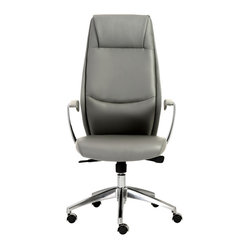 Crosby High Back Office Chair-Gry/Alum - You can't help but feel happy after glancing at this welcoming office chair. After all, the seams in the high backrest create the look of a friendly face, as it delivers cushioned comfort and support. Take a seat and introduce yourself.
