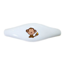 Carolina Hardware and Decor, LLC - Kid's Monkey & Banana Ceramic Pull Handle, Drawer Pull - New ceramic cabinet, drawer, or furniture pull with mounting hardware included. Pull has standard three inch centers.  Can be wiped clean with a soft damp cloth. Great addition and nice finishing touch to any room!