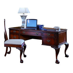 """Hooker Furniture - Ball and Claw Desk - White glove, in-home delivery included!  Majestic meets practical with this desk.  It is crafted using hardwood solids and cherry veneers.  Center drawer with drop-front option for use as a keyboard tray, one file drawer that takes letter or legal files, two utility drawers with mousepad drop-in, faux leather inserts on top.  Knee Space: 25"""" w x 27 1/2"""" d x 24"""" h  Center Drawer: 24"""" w x 21"""" d x 2 1/2"""" h   Left Side File Drawer: 10 1/2"""" w x 21 1/4"""" d x 10 3/4"""" h"""
