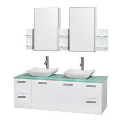 "Wyndham Collection - Amare 60"" Vanity, Green Glass, Avalon White Carrara Sink - Modern clean lines and a truly elegant design aesthetic meet affordability in the Wyndham Collection Amare Vanity. Available with green glass, acrylic resin or pure white man-made stone counters, and featuring soft close door hinges and drawer glides, you'll never hear a noisy door again! Meticulously finished with brushed chrome hardware, the attention to detail on this elegant contemporary vanity is unrivalled."