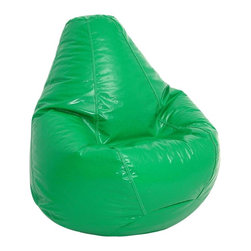 """Elite Products - Wetlook Bean Bag in Green - The Wet-Look Outer Extra Large Bean Bag weighs a hefty 12 pounds and comes in your choice of 10 vibrant colors including Neon and Lipstick! This comfortable pear-shaped bean bag features a soft & durable PVC vinyl """"wet Look"""" cover. * Long lasting and durable. Pear shape body for add comfort. Double stitched with double overlap folded seam. Double zippered bottom for added security. Childproof safety lock zippers (pulls have been removed). Can easily be refilled by an adult. Easy to clean. Lightweight and convenient to move and store. Recommended seating for all ages. Warranty: One year limited. Made from PVC vinyl and polystyrene bead. Made in USA. No assembly required. 41 in. L x 39 in. W x 33 in. H (12 lbs.)"""