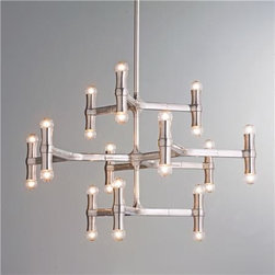 Modern Bamboo-Inspired Chandelier - I love this bamboo-inspired modern chandelier. Edgy and sophisticated, it is also available as a flushmount and sconces.