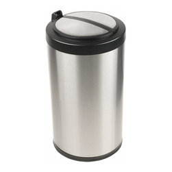 "Nine Stars - 18"" Stainless Steel Automatic Sensor 3.2 Gallon Garbage Disposal - The Nine Stars Automatic Sensor Trash Can Model # LB-12-18, with a capacity of 12 Liters (3.2 Gallons) uses the latest sensor technology. The Automatic Sensor Trash Can lid opens automatically with a simple wave of your hand or object in front of the infrared sensor. Trash can lid opens by placing your hand or any item within 10 inches of the infrared motion detector . The Automatic Sensor Trash Can lid will remain open for the duration of having an object within the sensor's range. Upon removing the object away from the infrared sensor, the Automatic Sensor Trash Can lid will automatically close after 3 seconds."