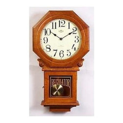 AA Importing - Schoolhouse Wall Clock w Pendulum in Cherry F - Turn your wall space into a traditional showcase. Handsome, high-performance schoolhouse style wall clock has an easy to read white dial with black Arabic hour indicators. Precise quartz movement and brass pendulum included for optimum value. A rich cherry finish completes the look. Brass pendulum. Quartz movement. Chimes are mechanical. 14 in. L x 4.5 in. W x 26 in. H