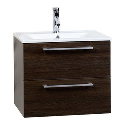 "CBI - ConceptBaths Caen 23.5"" Wall-Mounted Bathroom Vanity Alamo Oak RS-DM600-AO - In a small bathroom, storage is at a premium, -and that's when a 24-inch vanity cabinet proves its worth. The Caen wall-mounted vanity delivers beautiful wood grain extriors offset by modern brushed nickel door pulls. Topped off by a sleek integrated porcelain sink, this vanity features scratch resistant polyurethane finish, Grasshopper soft-closing drawer slides with damping technology. A true classic in its own righ, this innovative and inspiration vanity is a sleek and stylish to any contemporary bathroom."