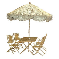 "Bamboo54 - Bamboo Large Palapa Family Patio Set - This set includes 9' umbrella, large rectangular table ( 53"" L x 35"" W x 30"" H) and 4 folding bamboo chairs. Set this up in your back yard or patio and you are good to go for the summer tropical tiki style! Ships via freight as it is too large to ship via FedEx ground or Ups ground."