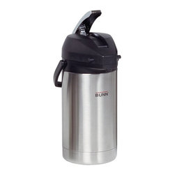 Bunn - BUNN 32125 2.5 Liter Lever-Action Airpot - Stainless Steel - 072504058160 - Shop for Beverage Dispensers and Servers from Hayneedle.com! Holding up to 84 ounces of choice brew the BUNN 32125 2.5 Liter Lever-Action Airpot - Stainless Steel is insulated to keep your beverage hot for hours. Its brew-through lid has a lever action to dispense coffee with ease. This carafe is made durable from stainless steel and plastic.About Bunn-O-Matic CorporationFounded in 1957 Bunn-O-Matic Corporation introduced the first paper coffee filter and in 1963 the pourover coffee brewer for commercial users. BUNN Home Brewers are made to do exactly what famous BUNN Commercial Brewers do: produce great tasting coffee quickly simply and consistently. Today BUNN continues to design and manufacture innovations in commercial beverage equipment and home coffee brewers from its headquarters in Springfield Illinois.