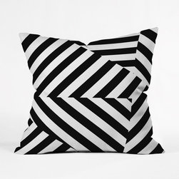 Modern Cinch Throw Pillow Cover - Striking black and white diagonals come together on one side in the Modern Cinch Throw Pillow, an invigorating accent piece for solid modern and contemporary furniture and bedspreads. Custom made for every order, this heavy-weight indoor pillow  cover is fashioned from woven polyester, is printed on both sides, and has a concealed zipper for easy care.