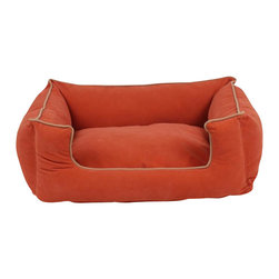 "Carolina Pet Company - Microfiber Low Profile Kuddle Lounge, Apricot, 42"" X 32"" X 12"" - Easy step in design makes this the perfect spot for your pet to curl up in.  Velvet microfiber bolsters wrap your pet in luxury and comfort.  Zippered cover removes easily for machine washing.  100% polyester outer cover with our high loft recycled polyester filled bolsters."