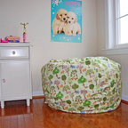"Bean Bag Chairs for Girls Rooms - Ahh! Products Whimsical Woods cotton bean bag chair. Remove and wash cover, water-repel liner. 37"" wide large size. 10 year warranty, Made in USA."