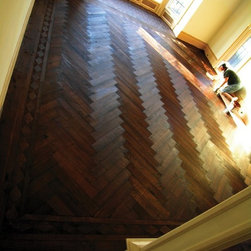 Herringbone, Old World Pristine Oak, Hand Scraped, European Oil Finish - Make a stately impact. Our traditional herringbone flooring, made from our Pristine quartersawn oak, hand scraped, and triple oiled with our European Oil Finish.