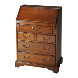 Butler Specialty - Butler Danforth Olive Ash Burl Secretary - Selected solid woods, wood products and choice veneers.  Cherry veneer top and sides. Cherry veneer drop front writing surface and drawer fronts with cherry veneer cross grain borders. Inset border inlay of maple veneer on drop front. Five drawers and two smaller drawers behind drop front all with antique brass finished hardware.